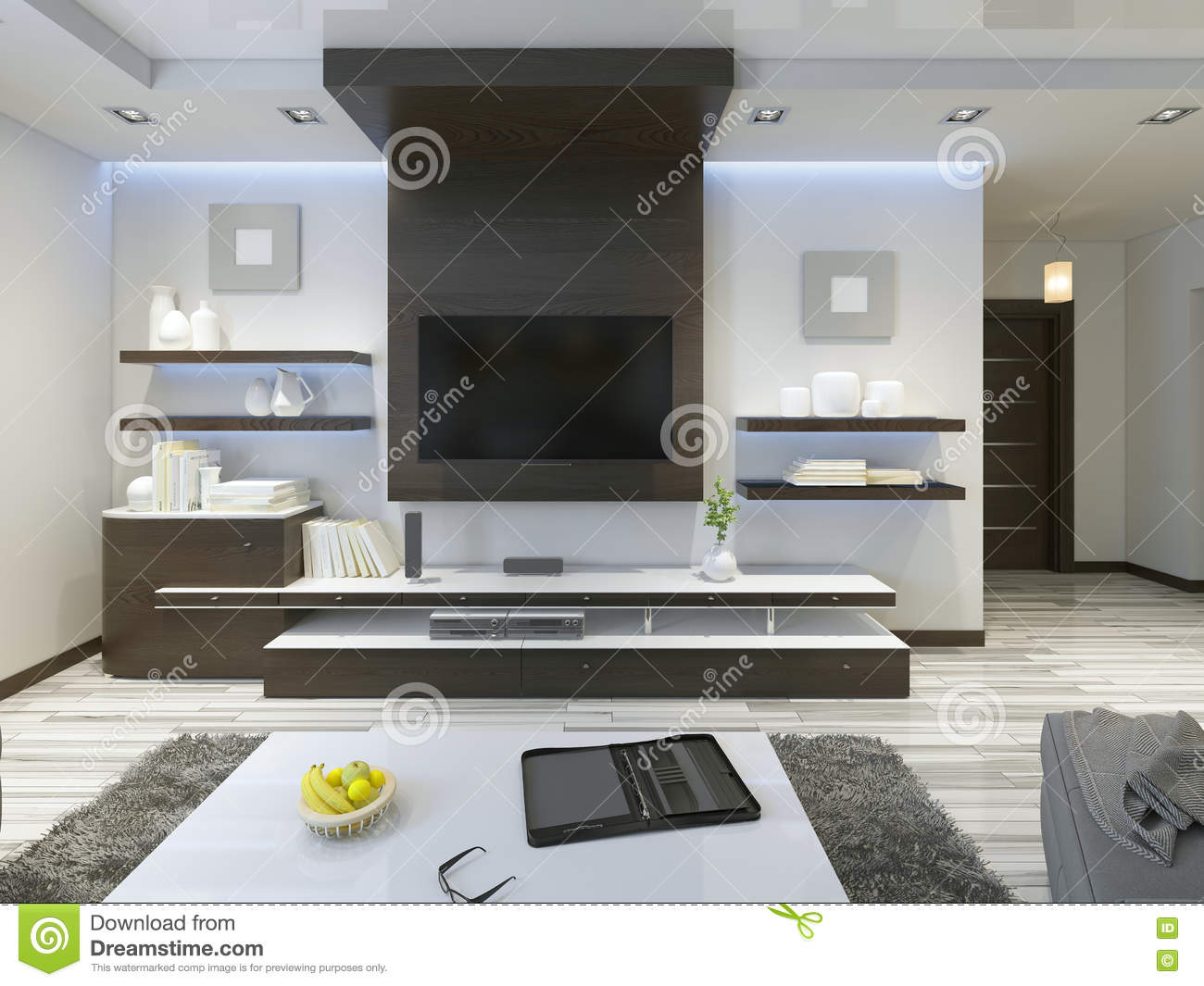Audio system with tv and shelves in the living room contemporary stock photo