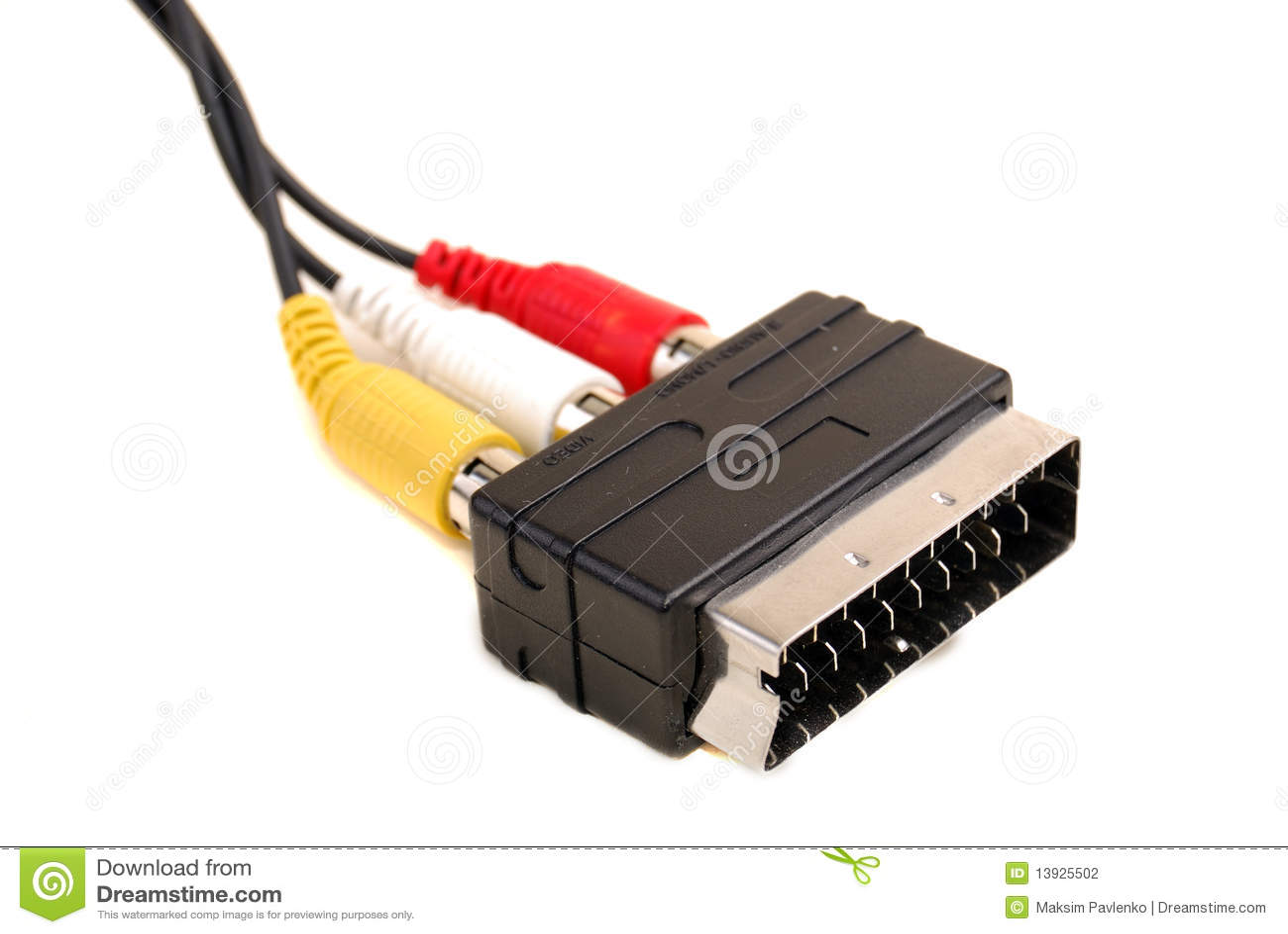 Audio-Video SCART-RCA Adapter Stock Photo - Image of macro