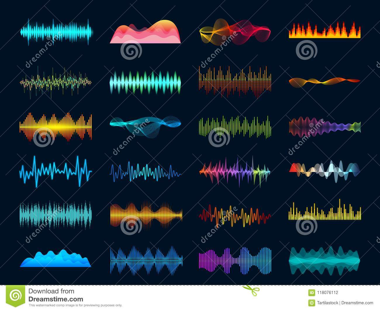 Audio waveform signals, wave song equalizer, stereo recorder sound visualization. Soundtrack signal and melody beat