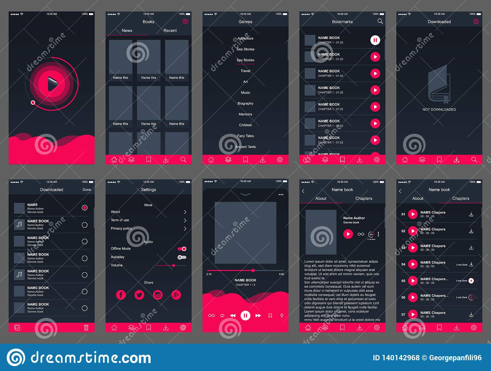 Audioboek ui ontwerp app