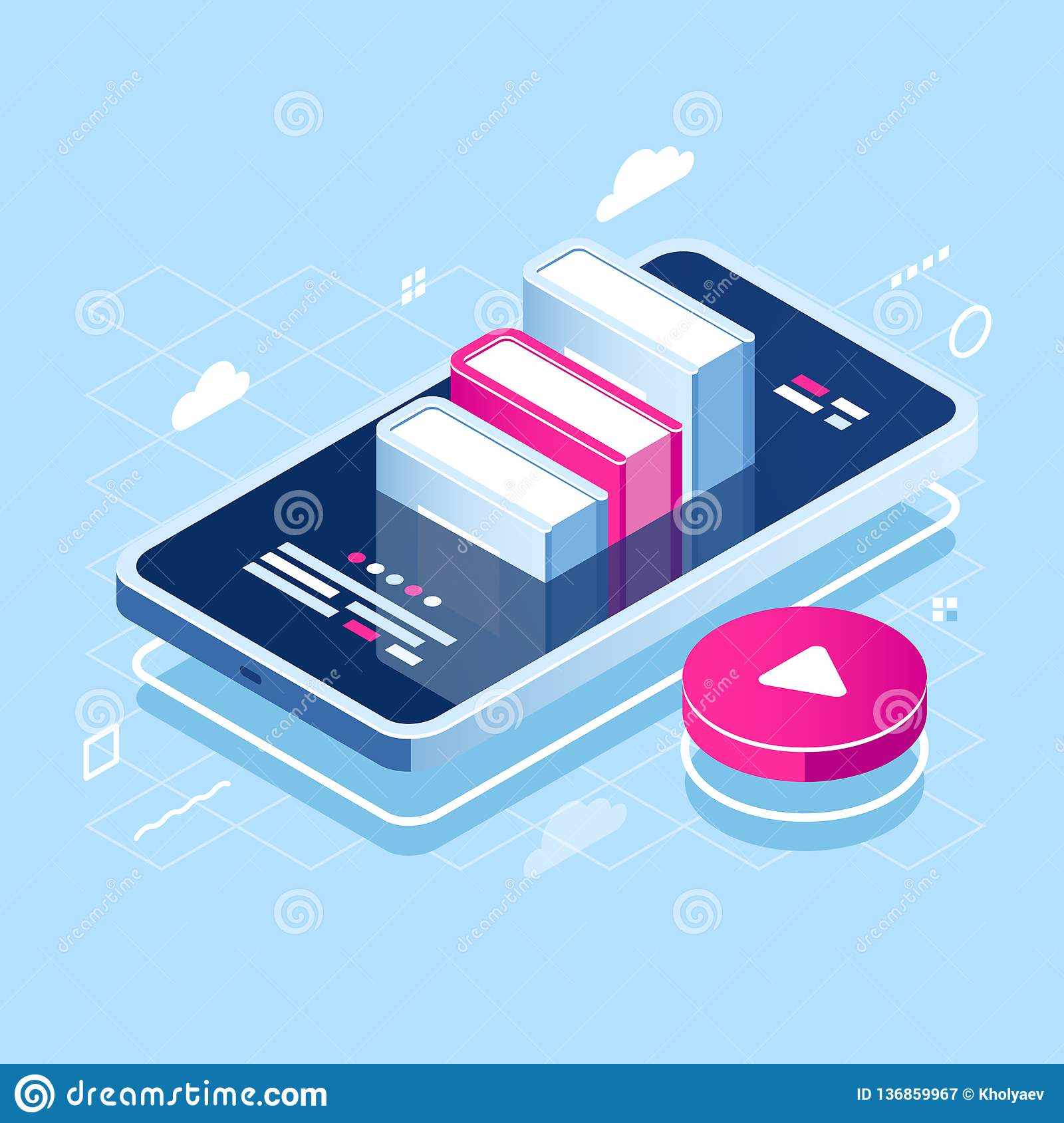 Audiobook concept isometric icon, online learning, pile of book on screen of mobile phone, internet course, tutorial