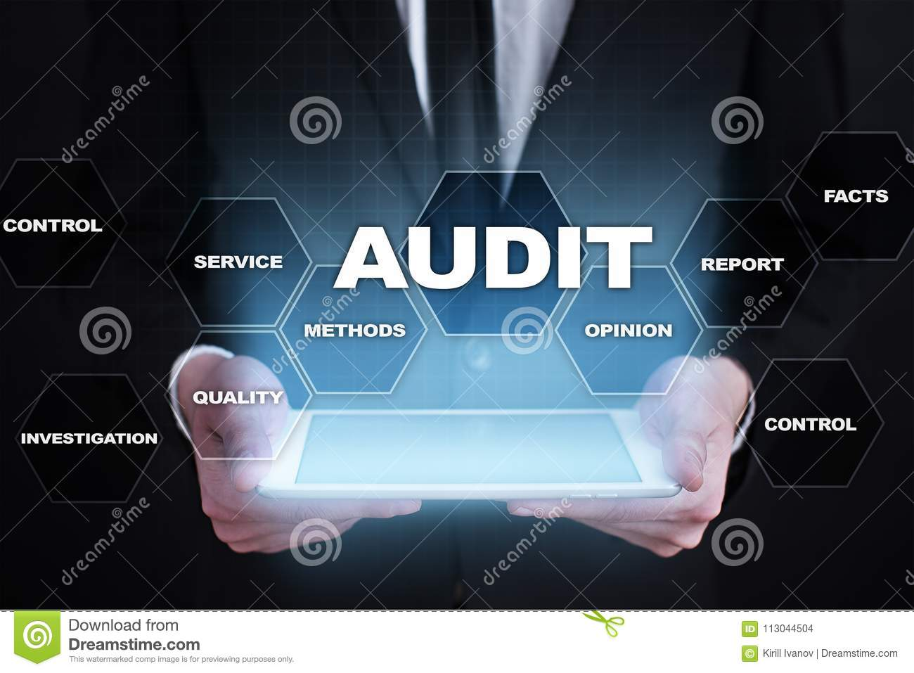 Audit business concept. Auditor. Compliance. Virtual screen technology.