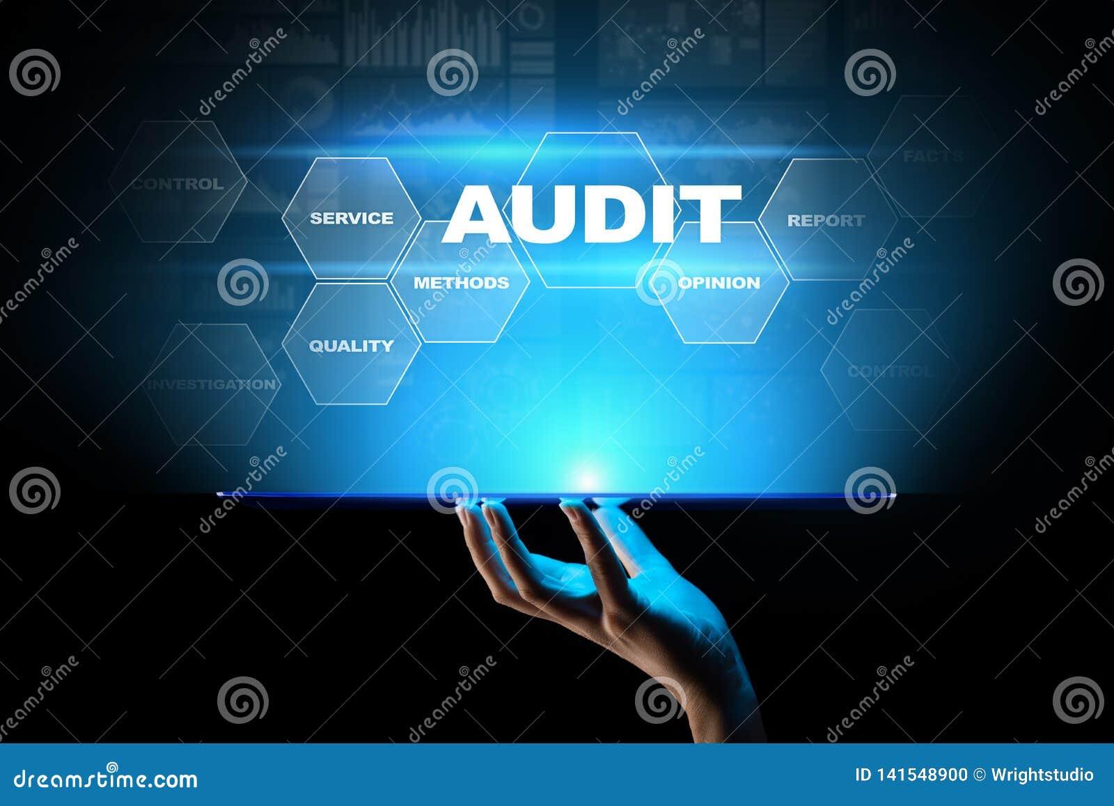Audit - examen financier officiel pour des affaires comme concept sur l écran virtuel