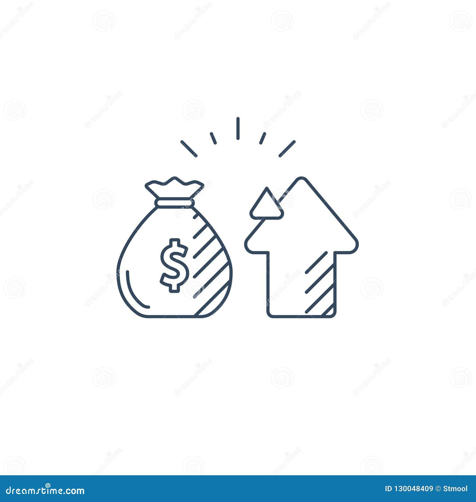 Audite los servicios, consulta financiera, idea de la estrategia de inversión del dinero, línea icono