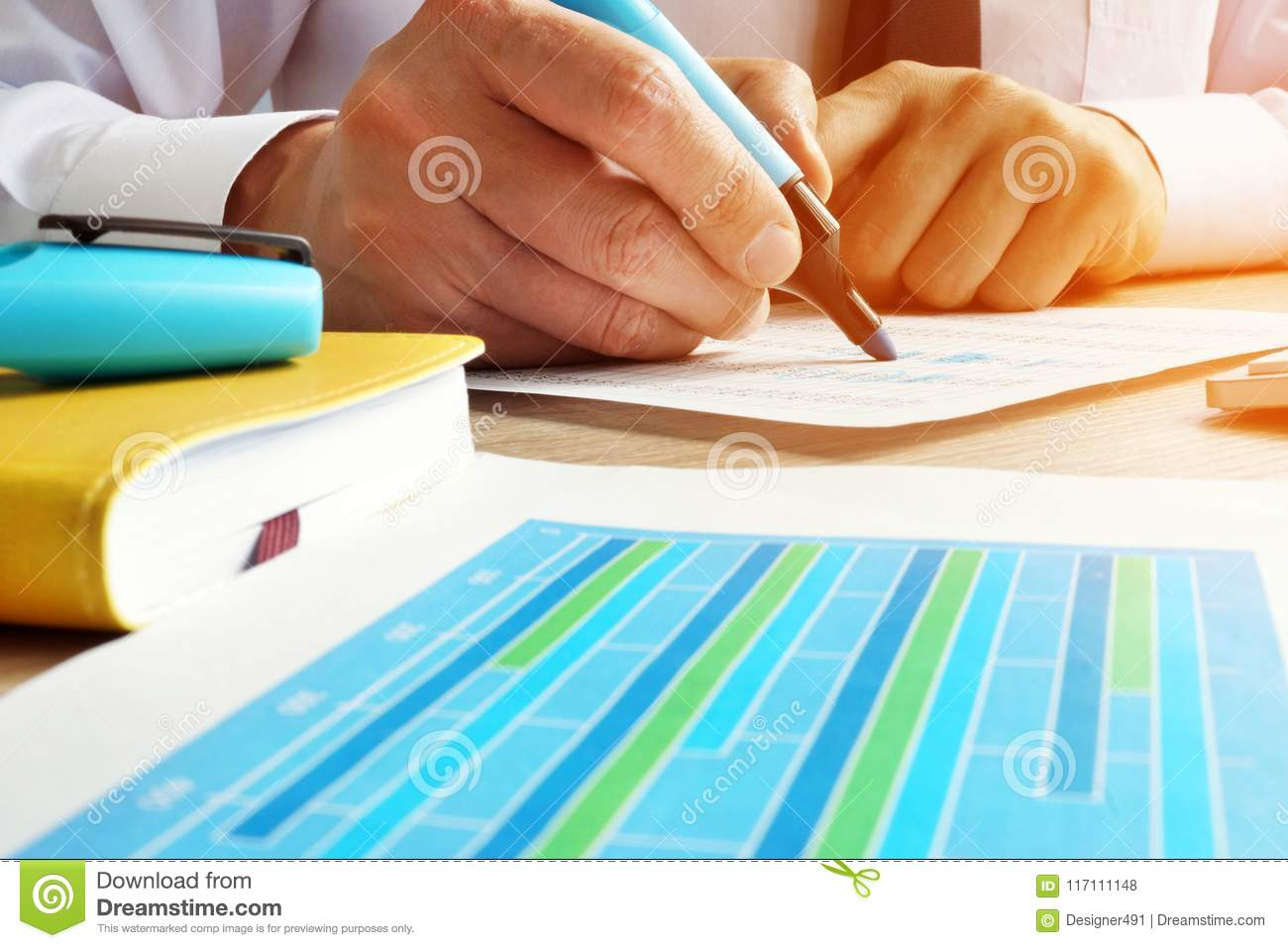 Auditor working with financial data. Internal audit.