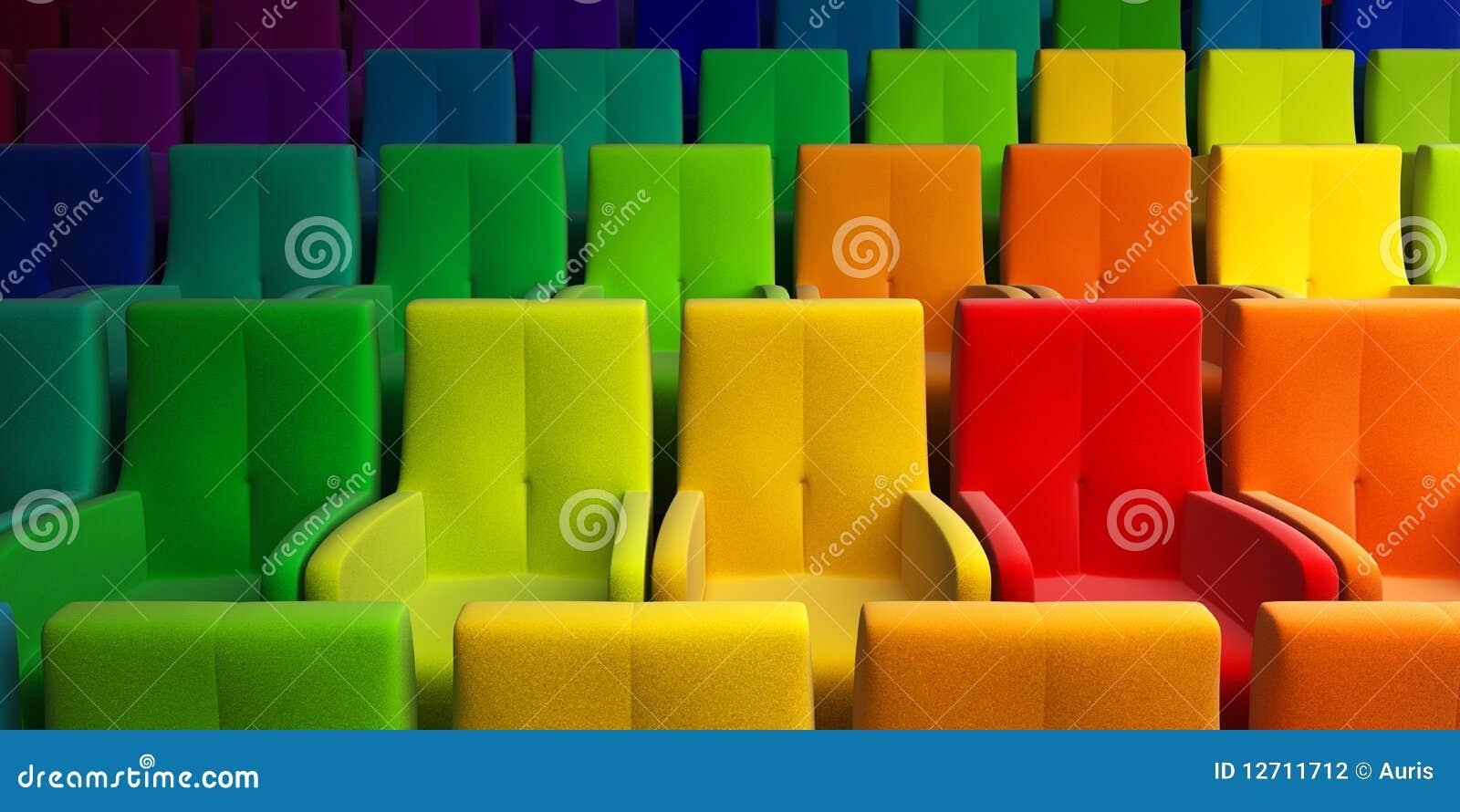 Auditorio con el asiento multicolor