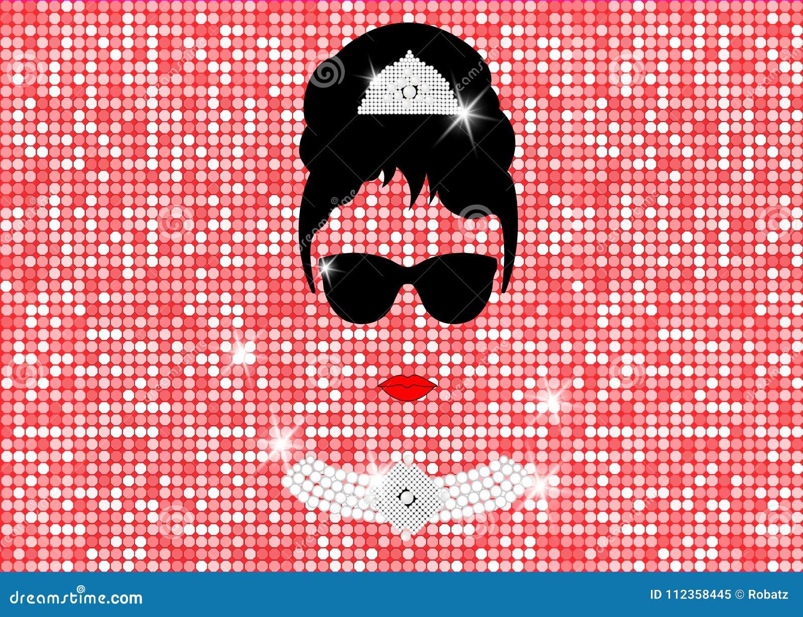 Audrey Hepburn med solglasögon, den isolerade vektorståenden eller guldrosen blänker textur