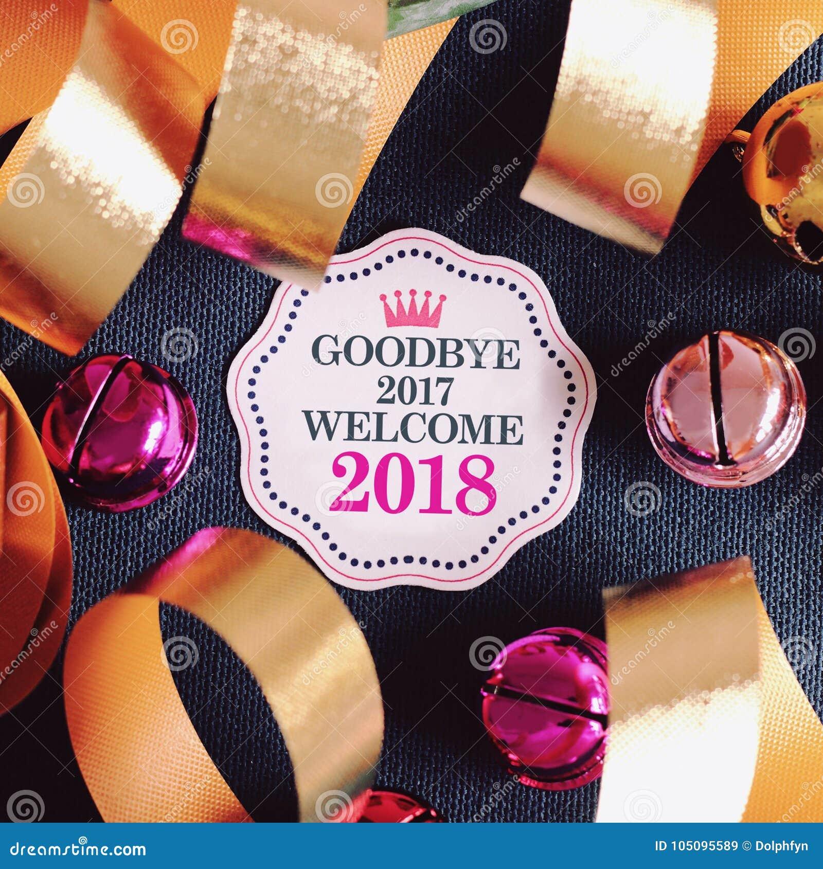 Auf Wiedersehen 2017 Willkommen 2018 Mit Dekoration Stockbild - Bild ...