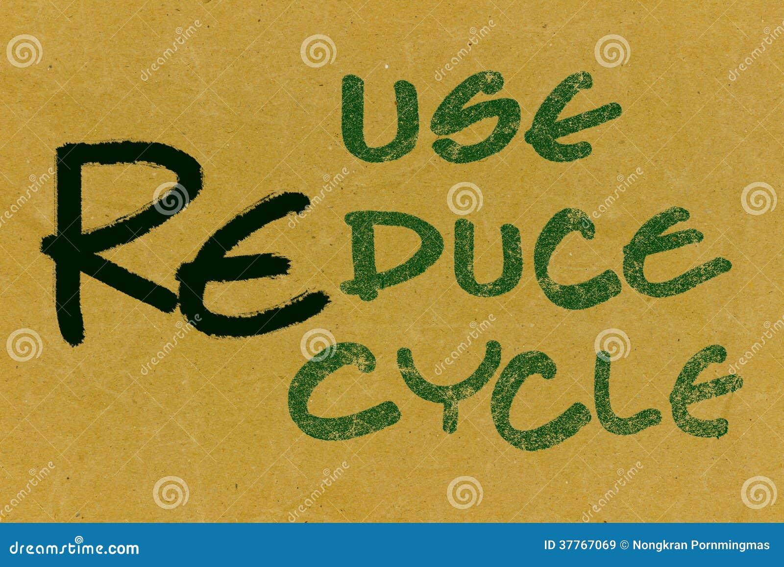 Aufbereiten-Wiederverwendung-verringern Sie Text auf Recyclingpapier