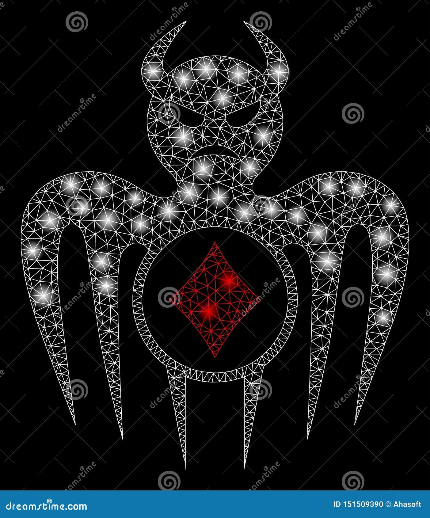 Aufflackern-Maschen-2D spielender Erscheinungs-Teufel mit hellen Stellen