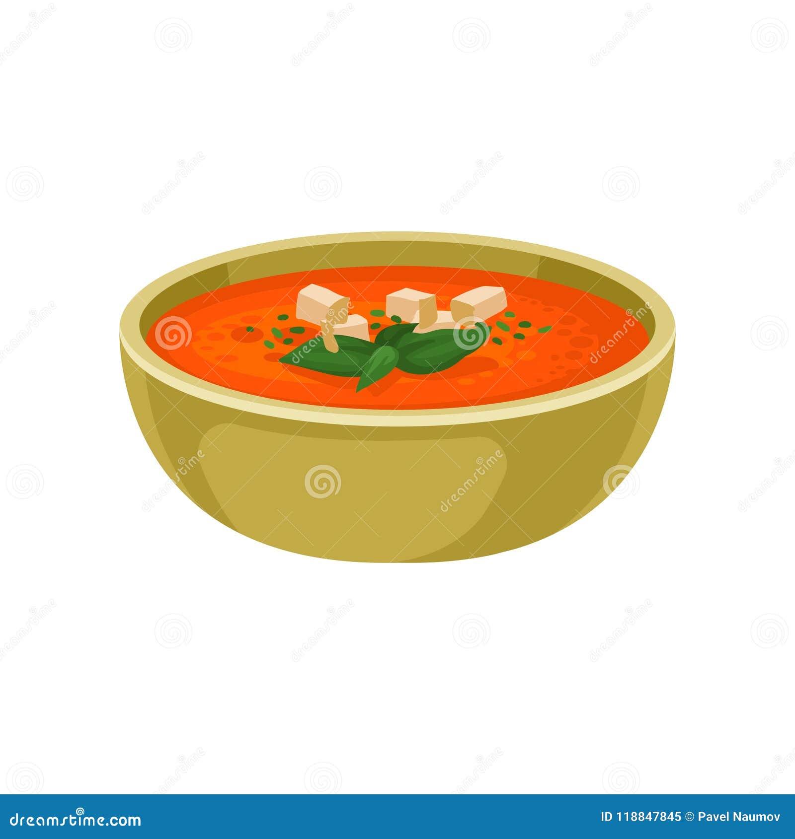 Auffrischungsgazpacho Suppe in der keramischen Schüssel Köstlicher Teller der spanischen Küche Flaches Vektorelement für Menü