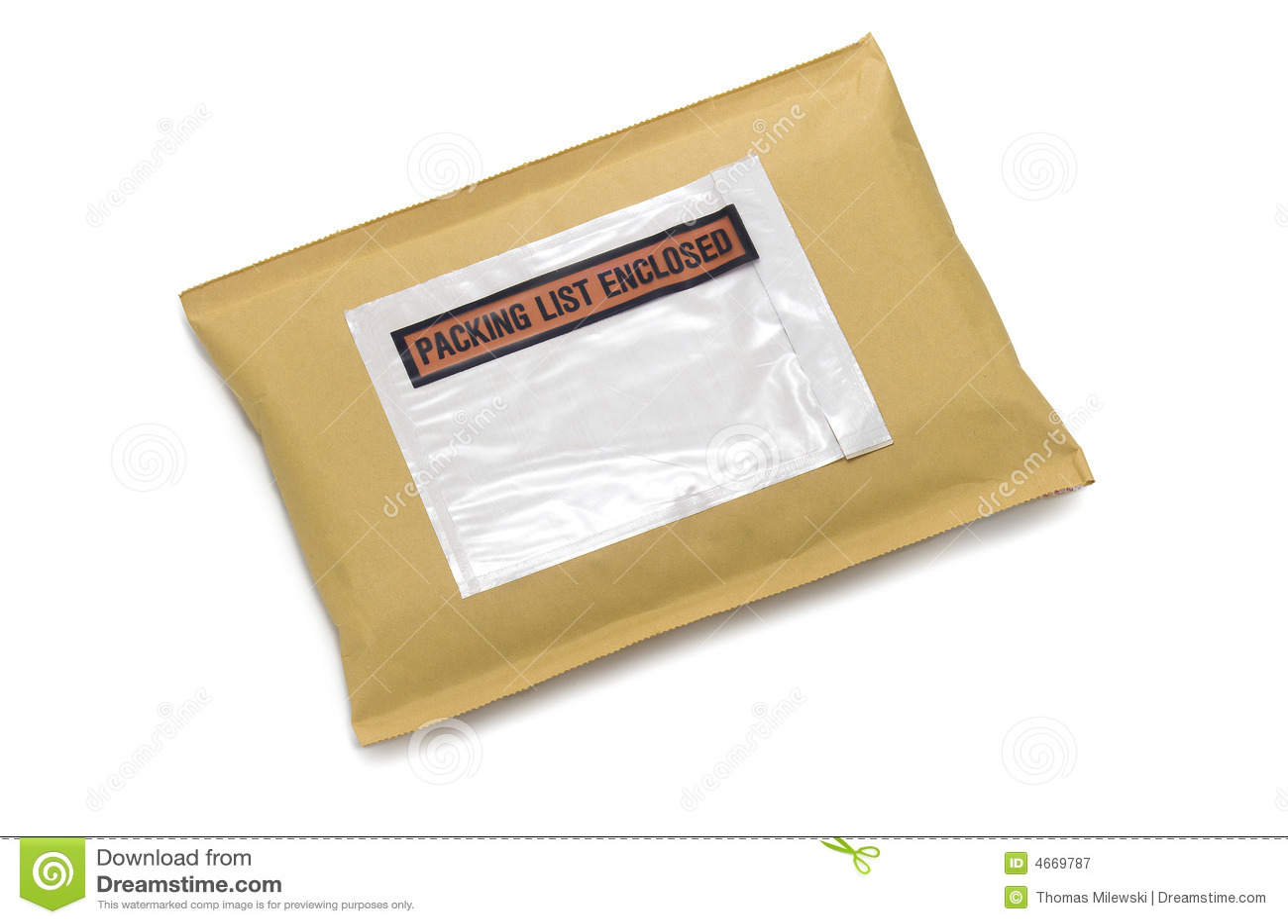 Aufgefüllter Umschlag mit Kennsatz auf Weiß