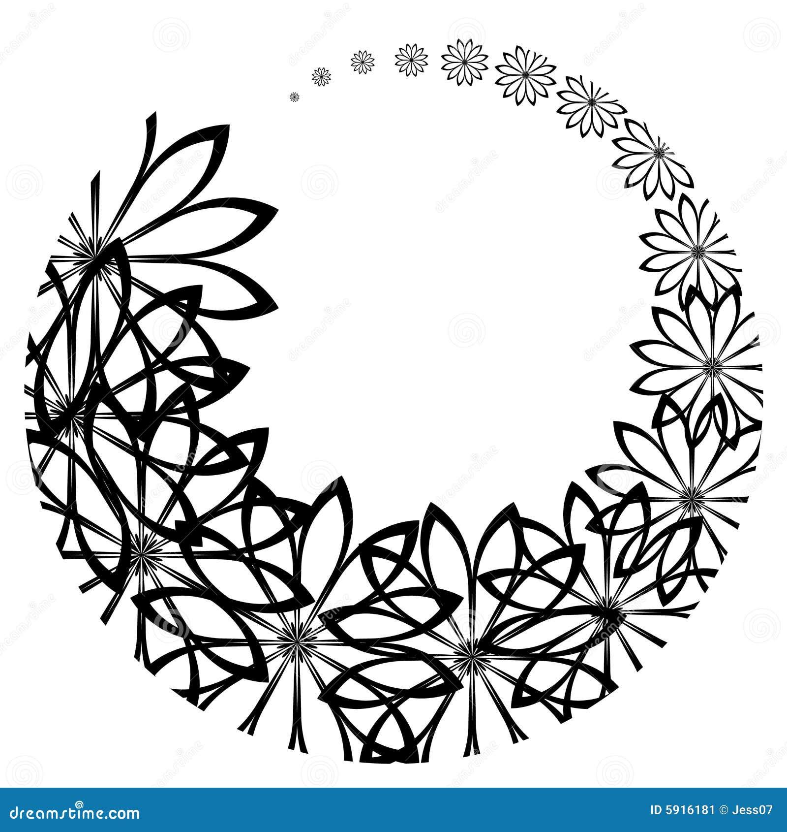 Aufgerundete schwarze Blumen