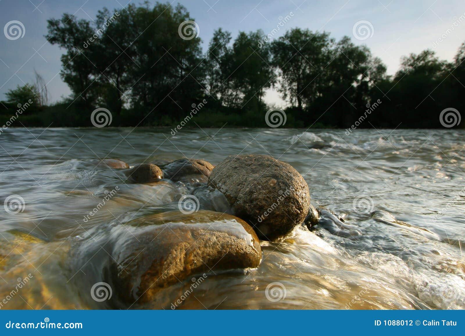 Aufgerundete Steine im Fluss
