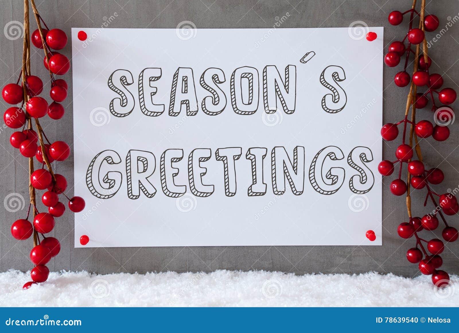 Aufkleber, Schnee, Weihnachtsdekoration, Text Würzt Grüße Stockfoto ...