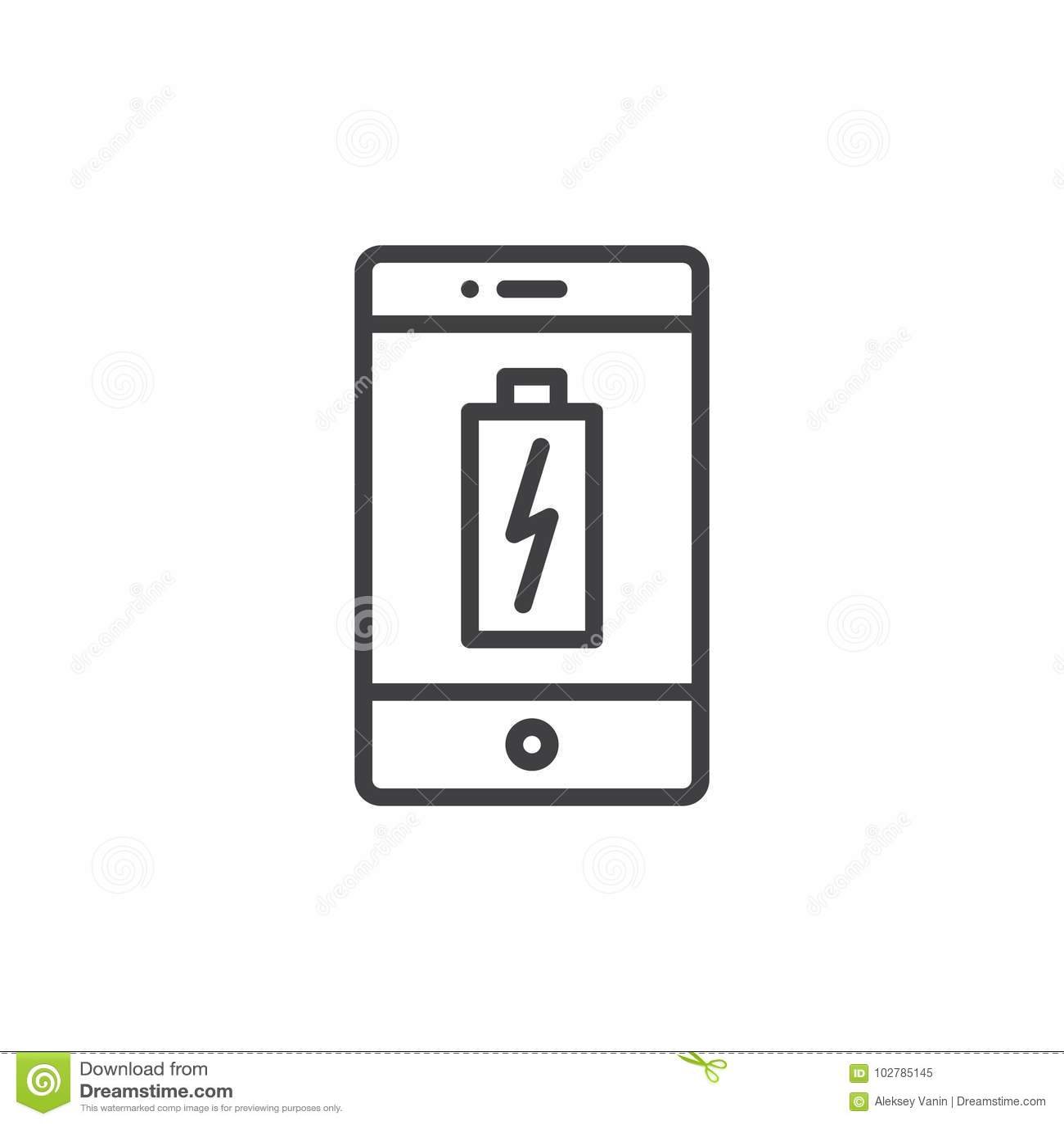 Aufladungsbatterielinie Ikone Smartphones