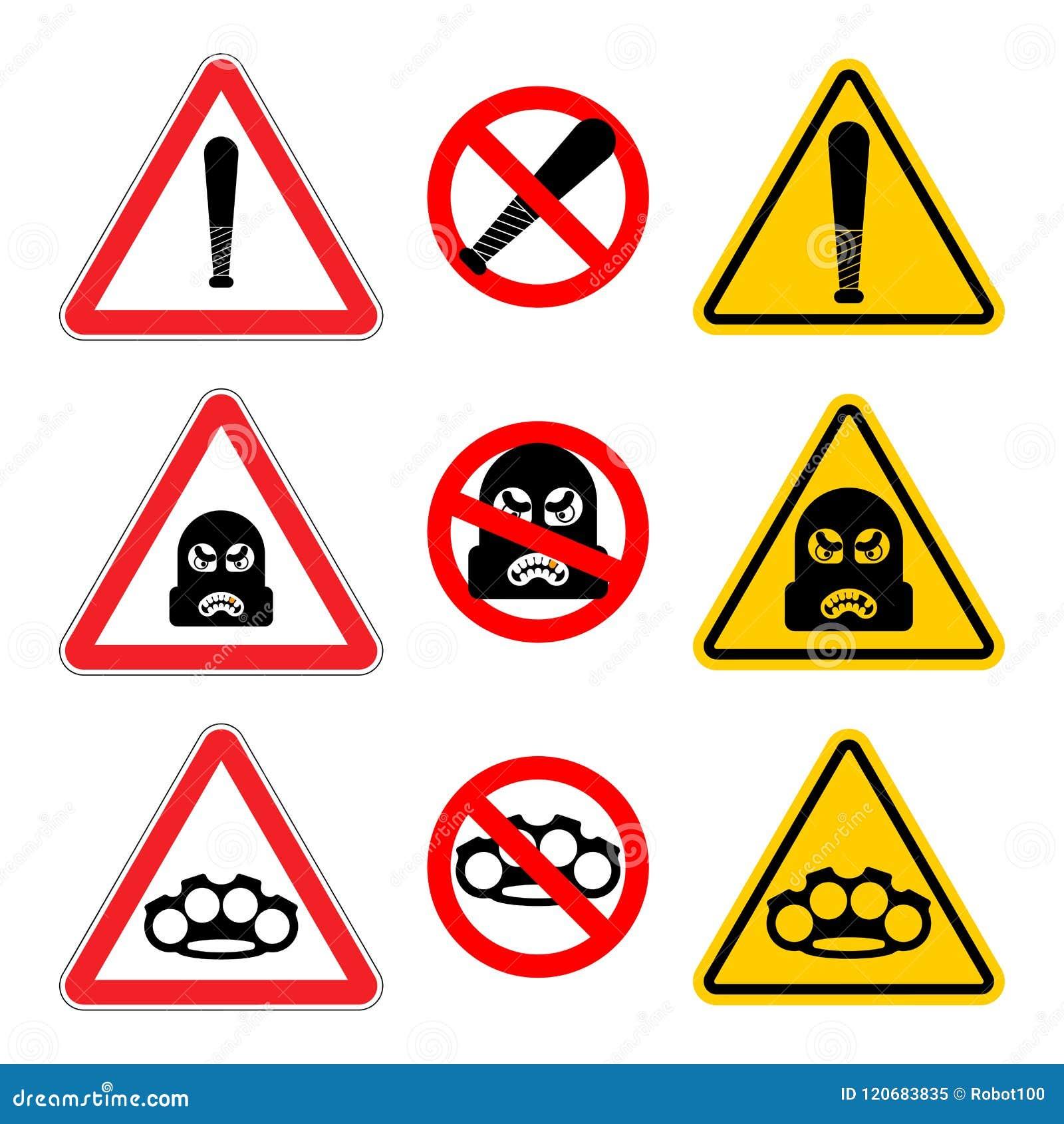 Aufmerksamkeits-Räuberzeichensatz Stoppen Sie Vorsicht-Gauner Es ist verbotenes B