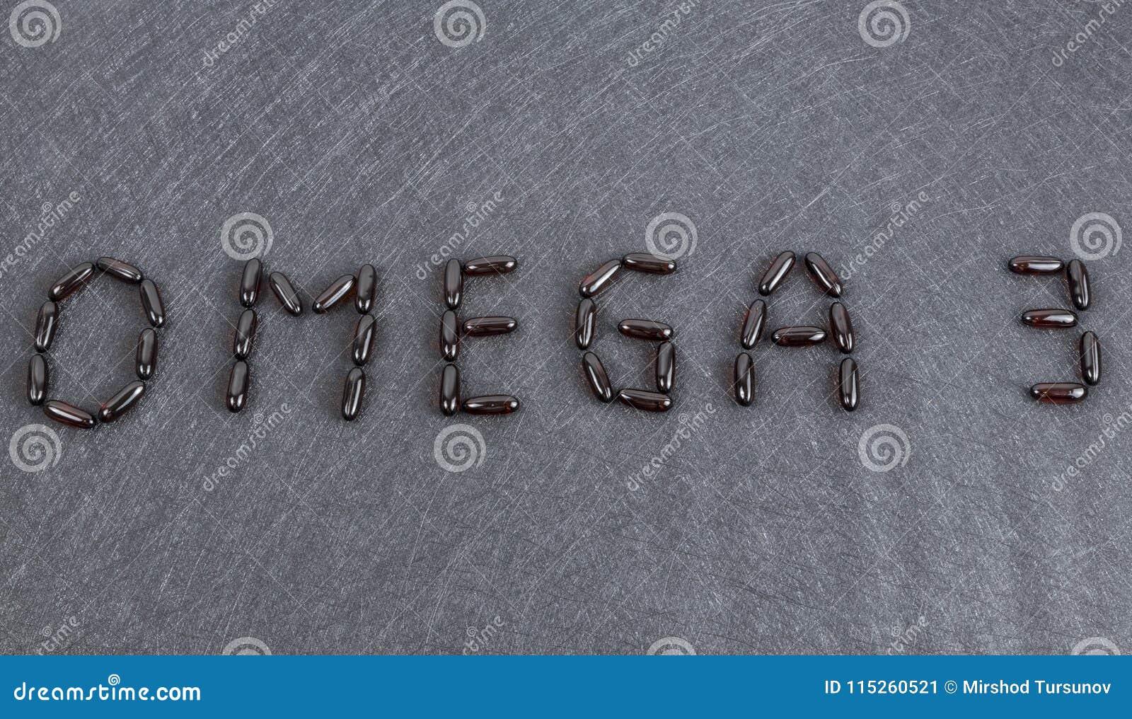 Aufschrift Omega 3 auf schwarzen Hintergrund Gelkapseln