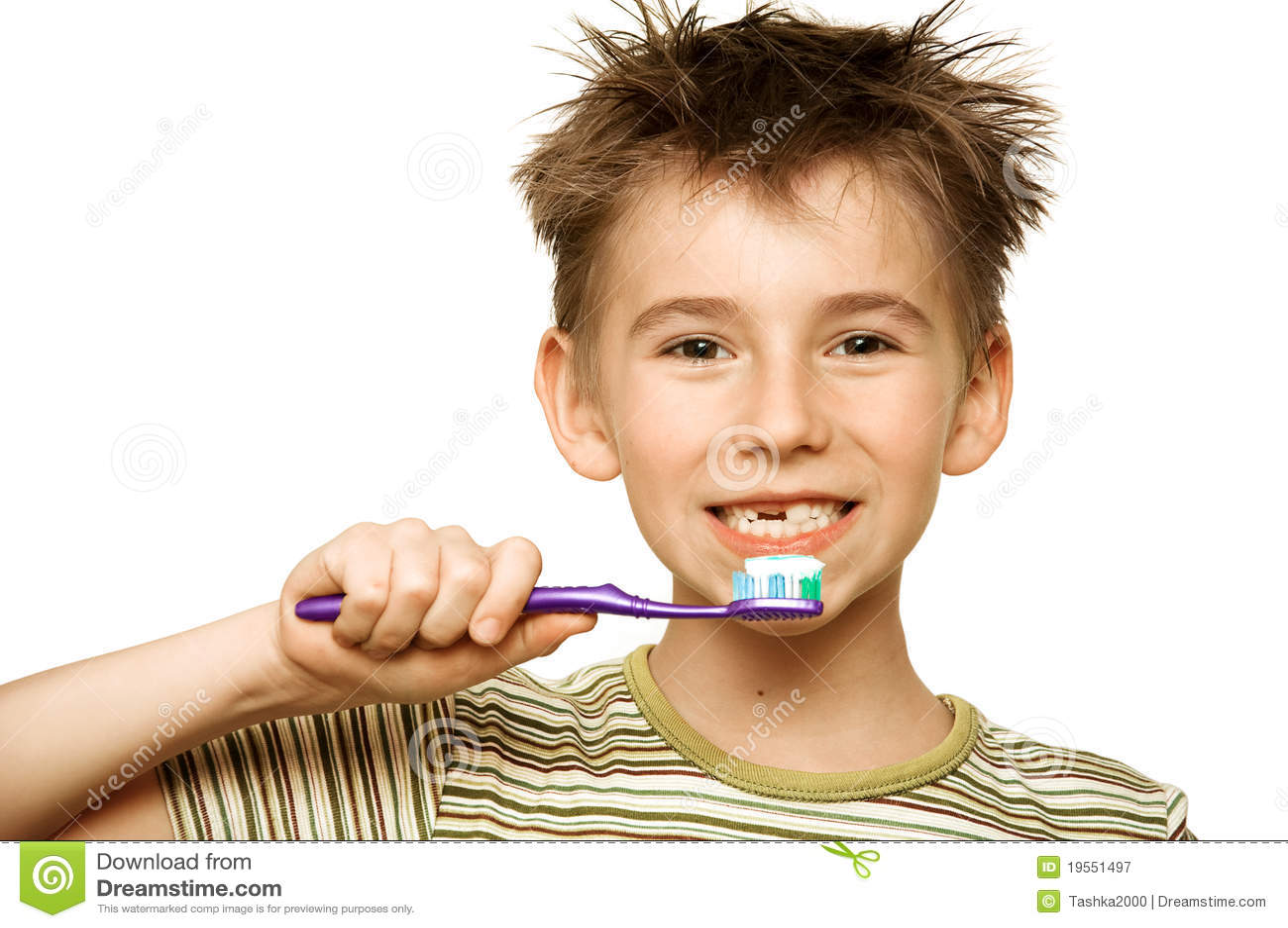 Auftragende Zähne des Kindes