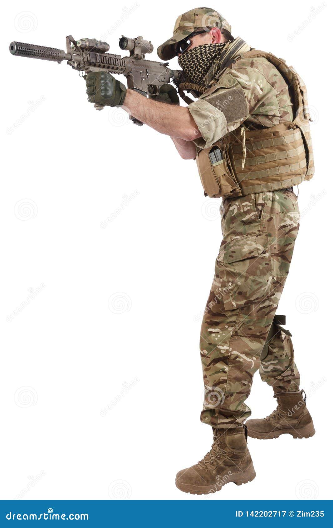 Auftragnehmer Private Military Company mit Sturmgewehr