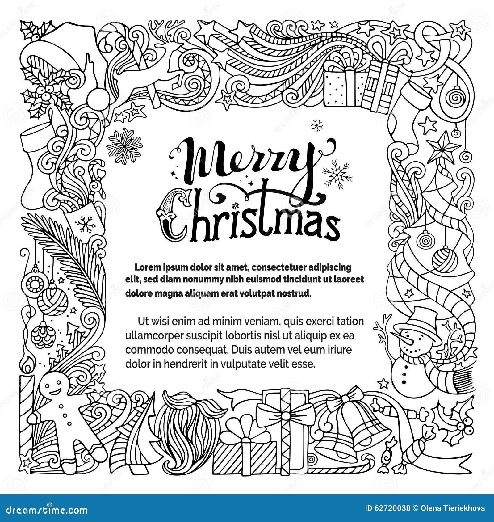 Aufwändige Frohe Weihnachten Kritzeln Rahmen Vektor Abbildung ...