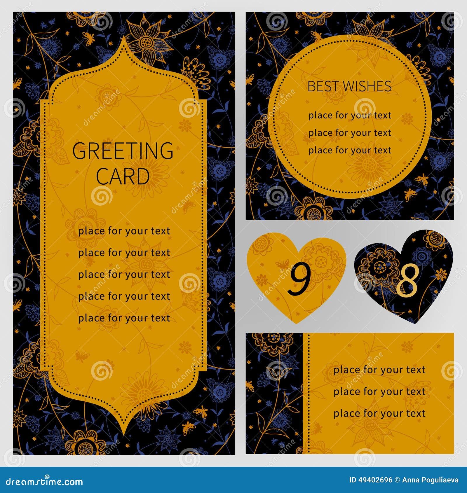Download Aufwändige Karten Der Weinlese Mit Blumen Und Schmetterlingen Vektor Abbildung - Illustration von basisrecheneinheit, stickerei: 49402696