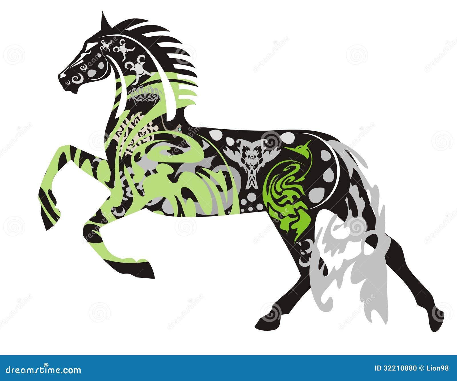 Aufwändiges Dunkles Pferd In Einem Sprung Vektor Abbildung ...
