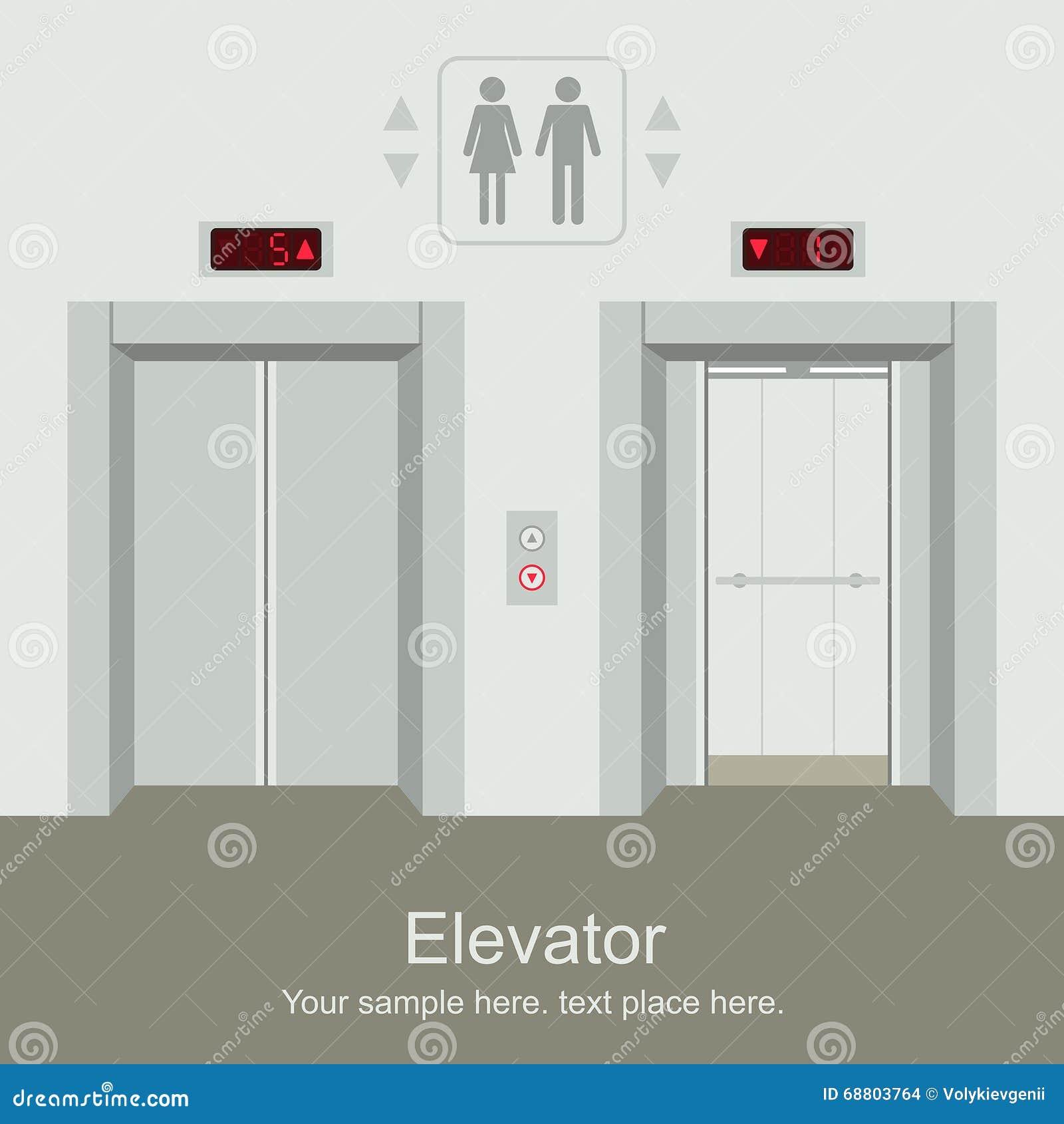 aufzug offen und geschlossene t ren vektor abbildung bild 68803764. Black Bedroom Furniture Sets. Home Design Ideas