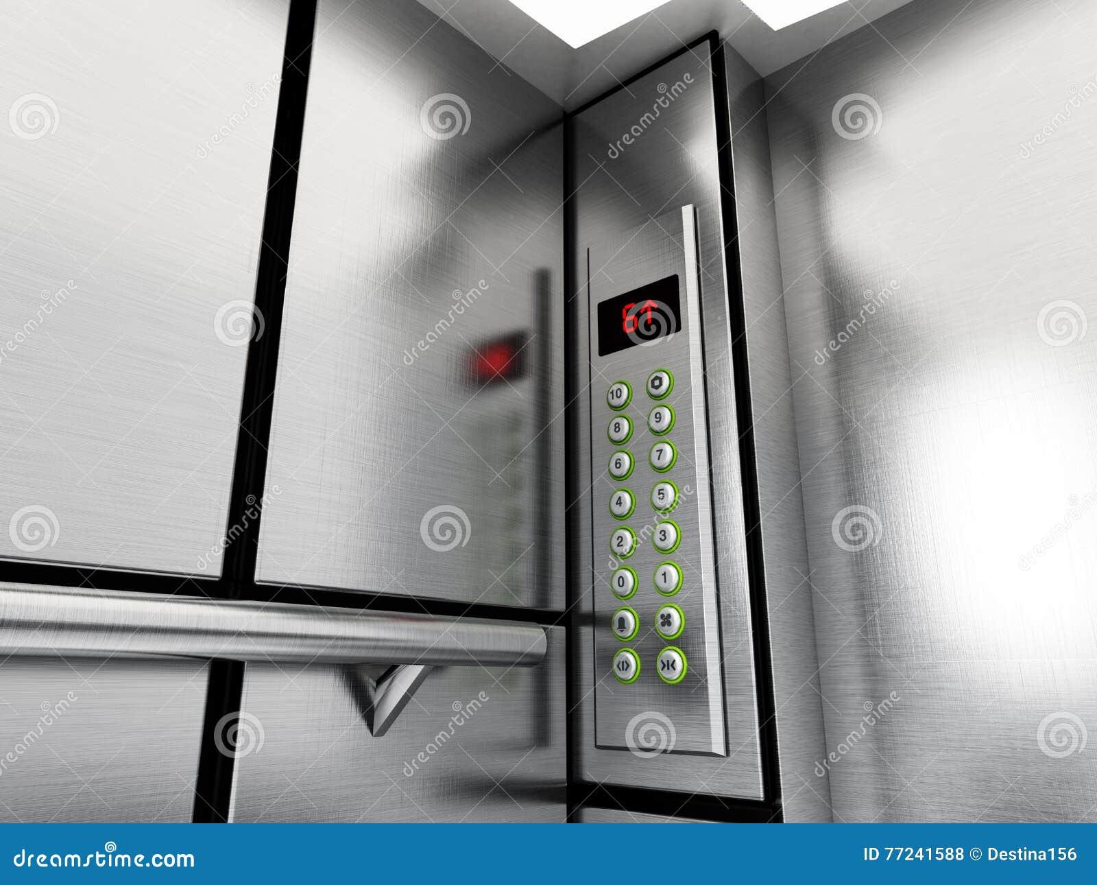 Aufzugsplatte mit Knöpfen und LCD-Anzeige Abbildung 3D