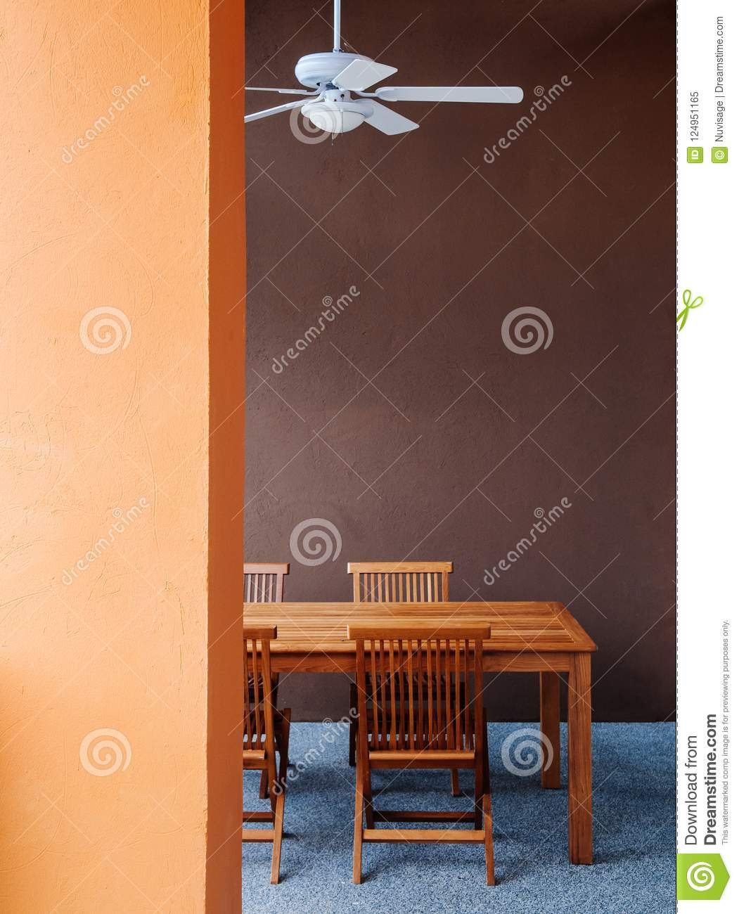 Asian Colored Style Dining Room With Wood Table And Ceiling