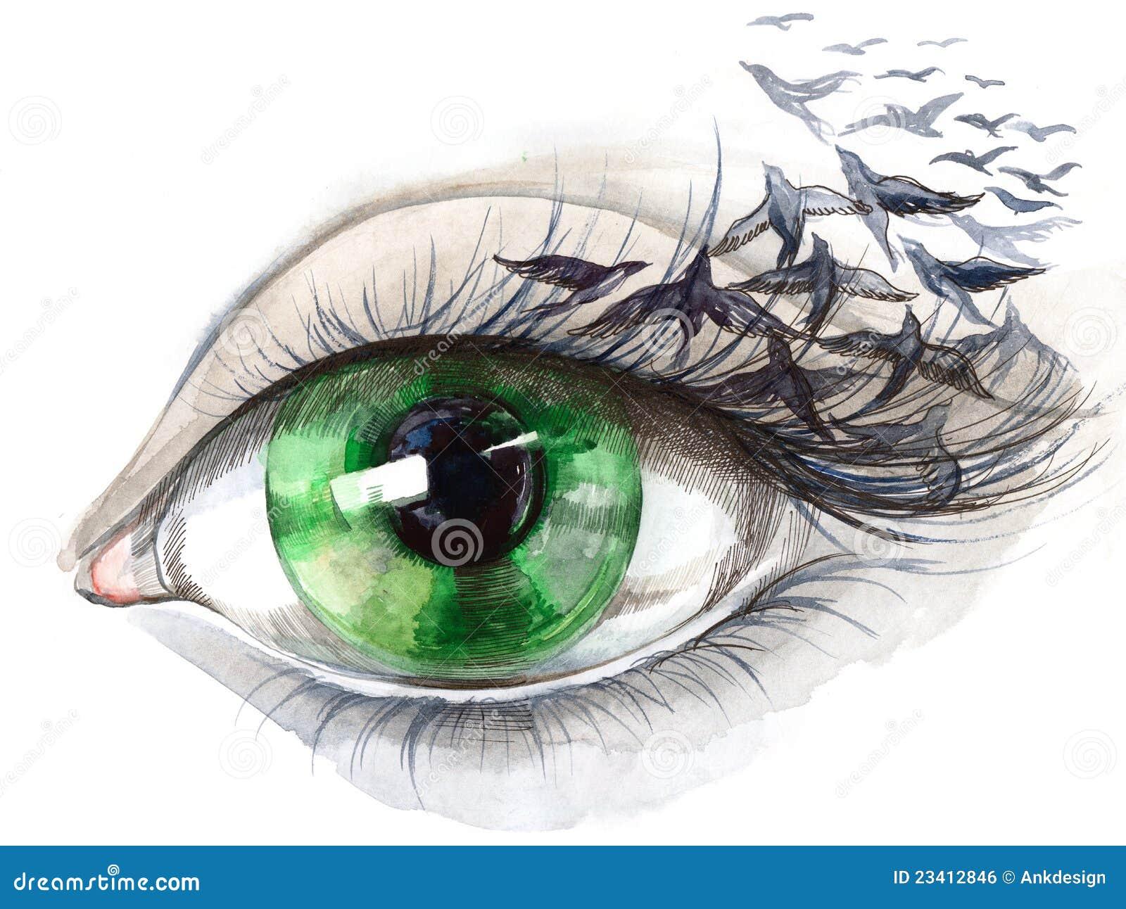 Auge mit Vögeln