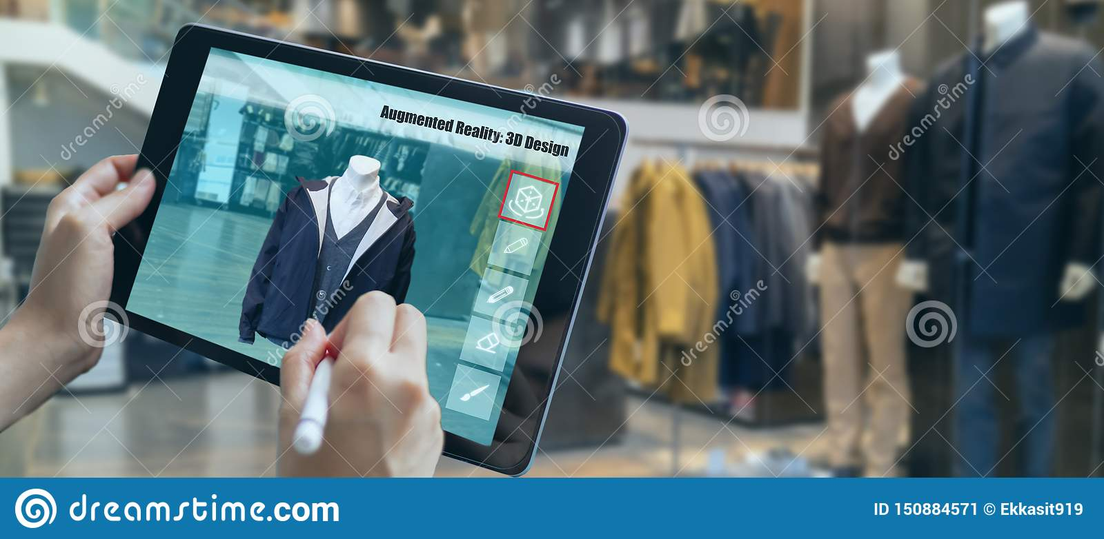 Augmented Mixed Virtual Reality To Design A Clothes In 3d Fashion Design Software Program Creating Virtual True To Life Garment V Stock Image Image Of Digital Engineering 150884571
