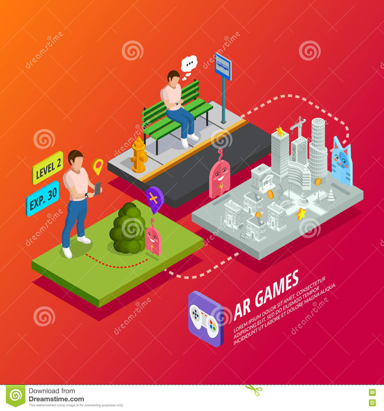 Augmented Reality AR Games Isometric Poster.