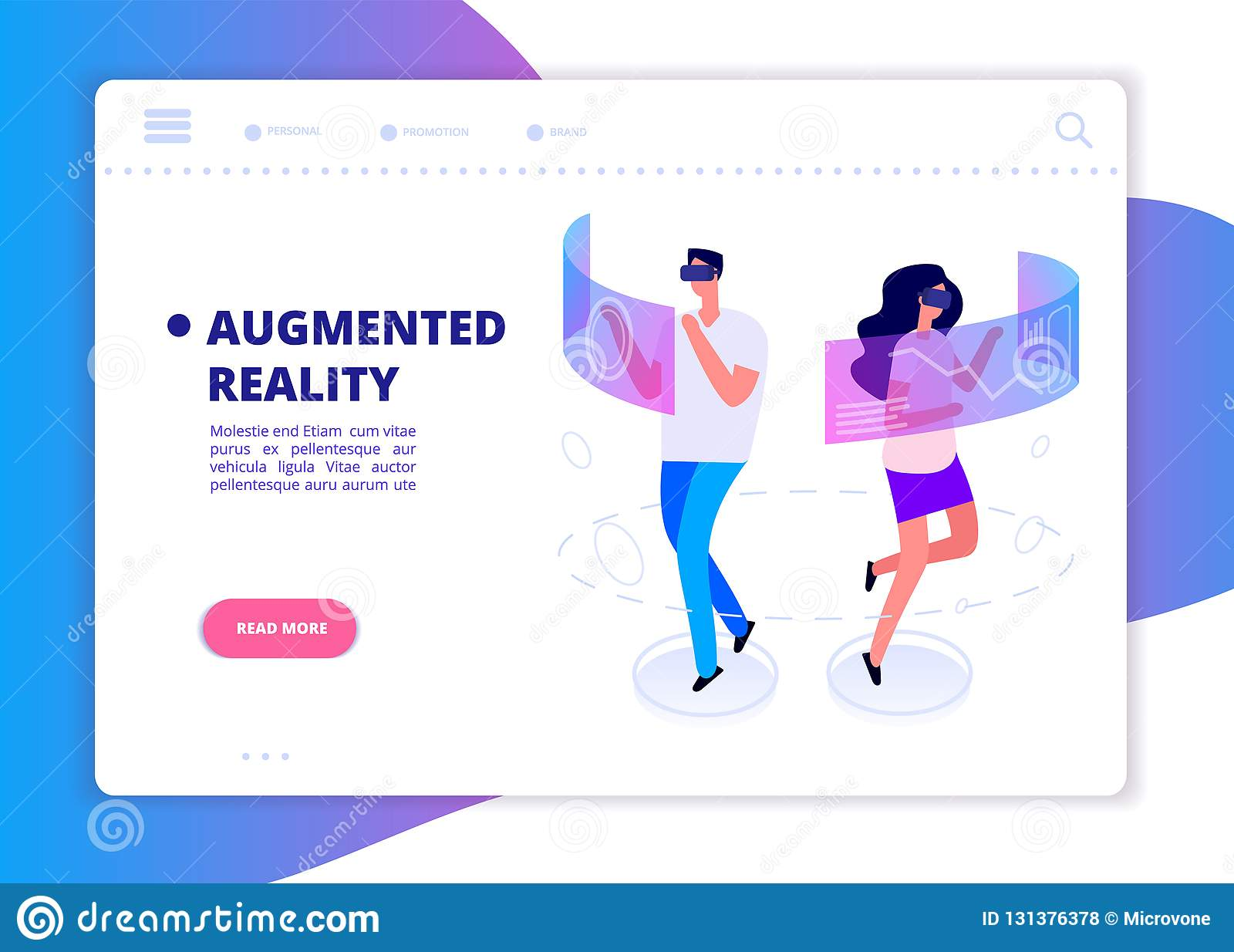 461fffbee32 Augmented reality banner. People with headset and vr glasses gaming in virtual  reality. Futuristic technology vector concept. Vr reality