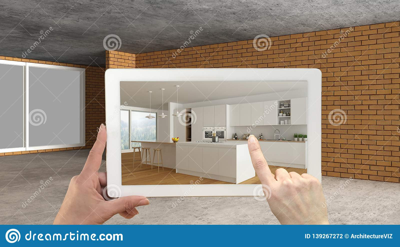ff3ed8d3803f Augmented reality concept. Hand holding tablet with AR application used to  simulate furniture and design products in an interior construction site