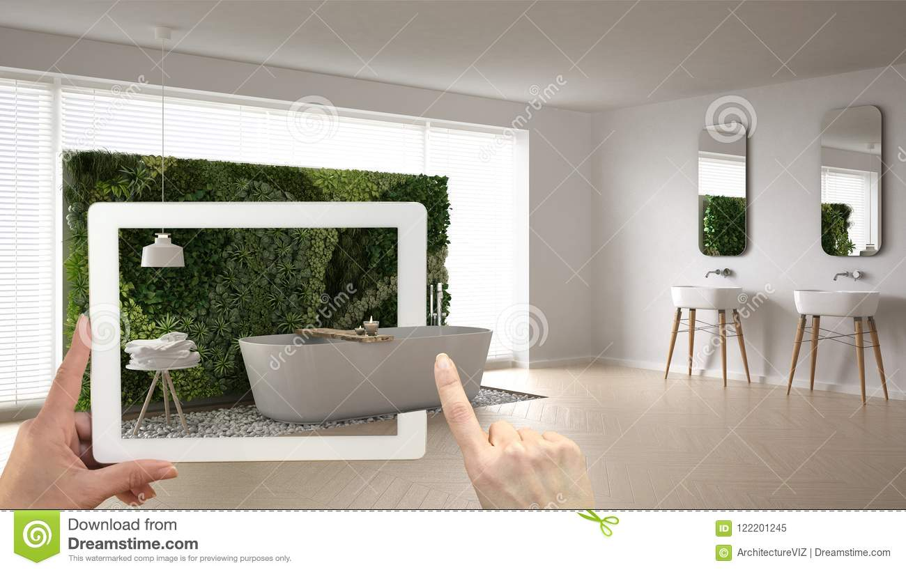 Augmented reality concept hand holding tablet with ar application used to simulate furniture for Best tablet for interior designers
