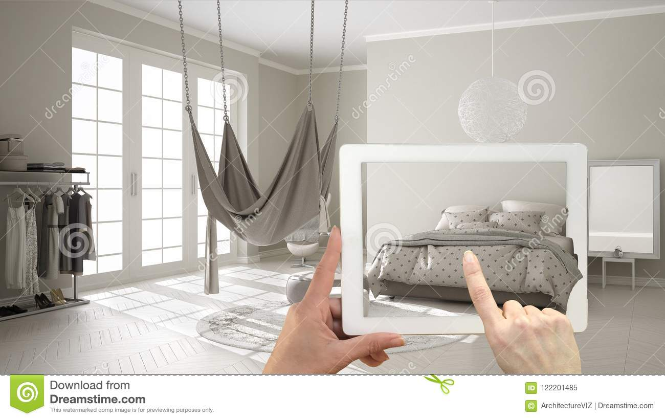 Augmented Reality Concept Hand Holding Tablet With Ar Application Used To Simulate Furniture And Interior Design Products In Real Stock Illustration Illustration Of Interactive Bedroom 122201485