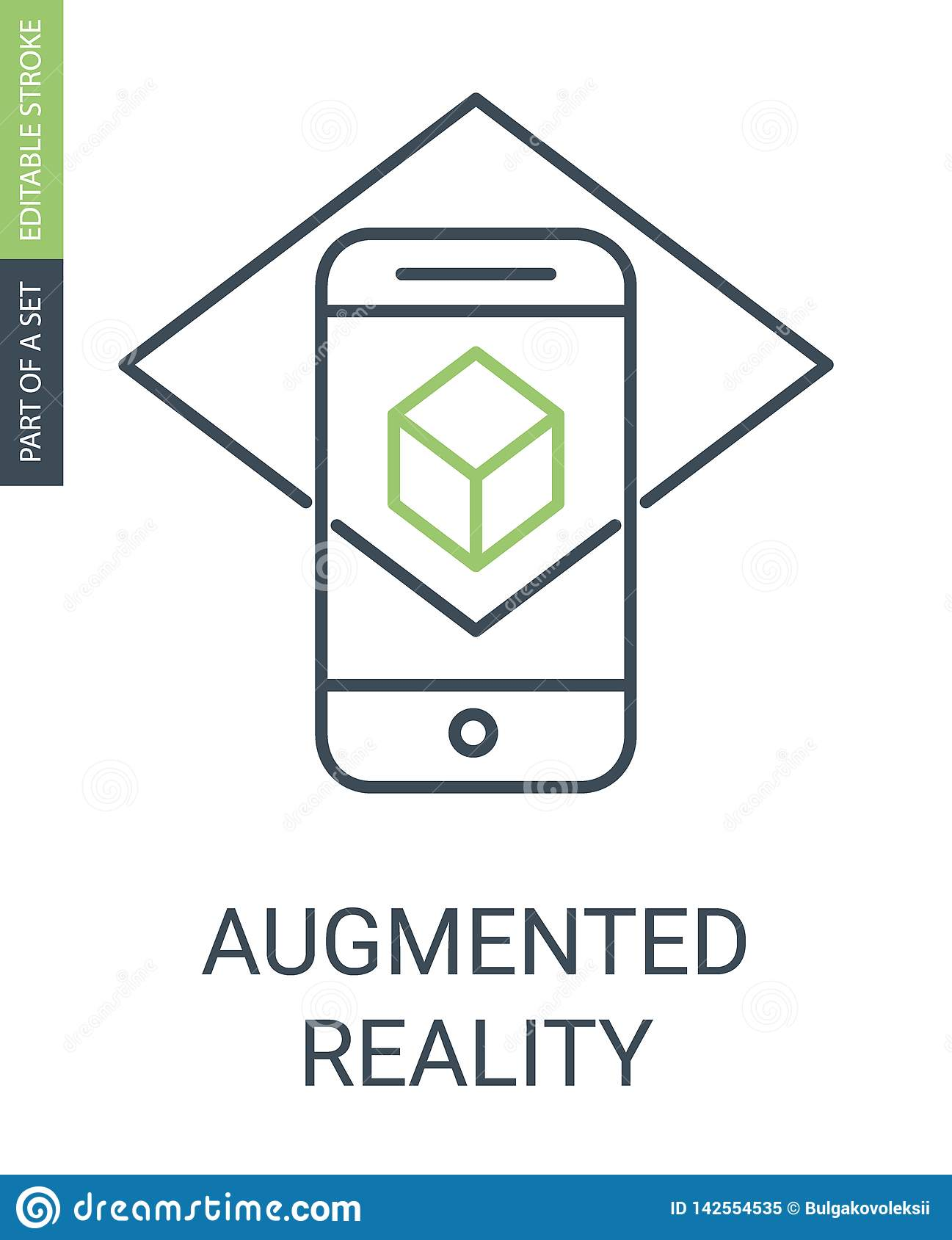 Augmented Reality Outline Icon with Editable Stroke