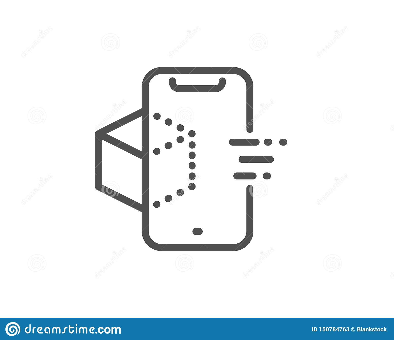 Augmented Reality Phone Line Icon. VR Simulation Sign. 3d Cube. Vector Stock Vector ...