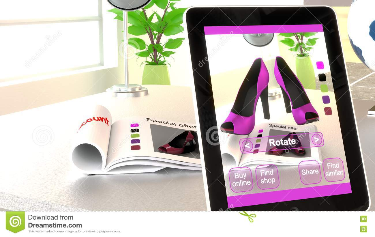 Download Augmented Reality Shopping Concept Illustration Stock Illustration    Illustration Of Reality, Shoes: 79024918