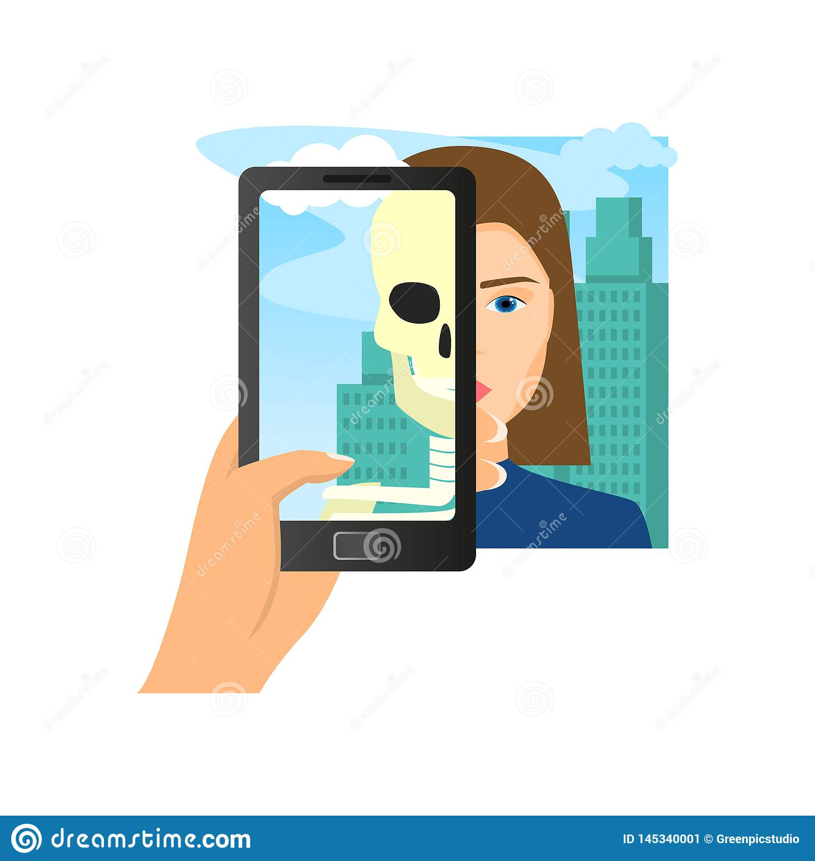 Augmented reality using smartphone saw woman skull
