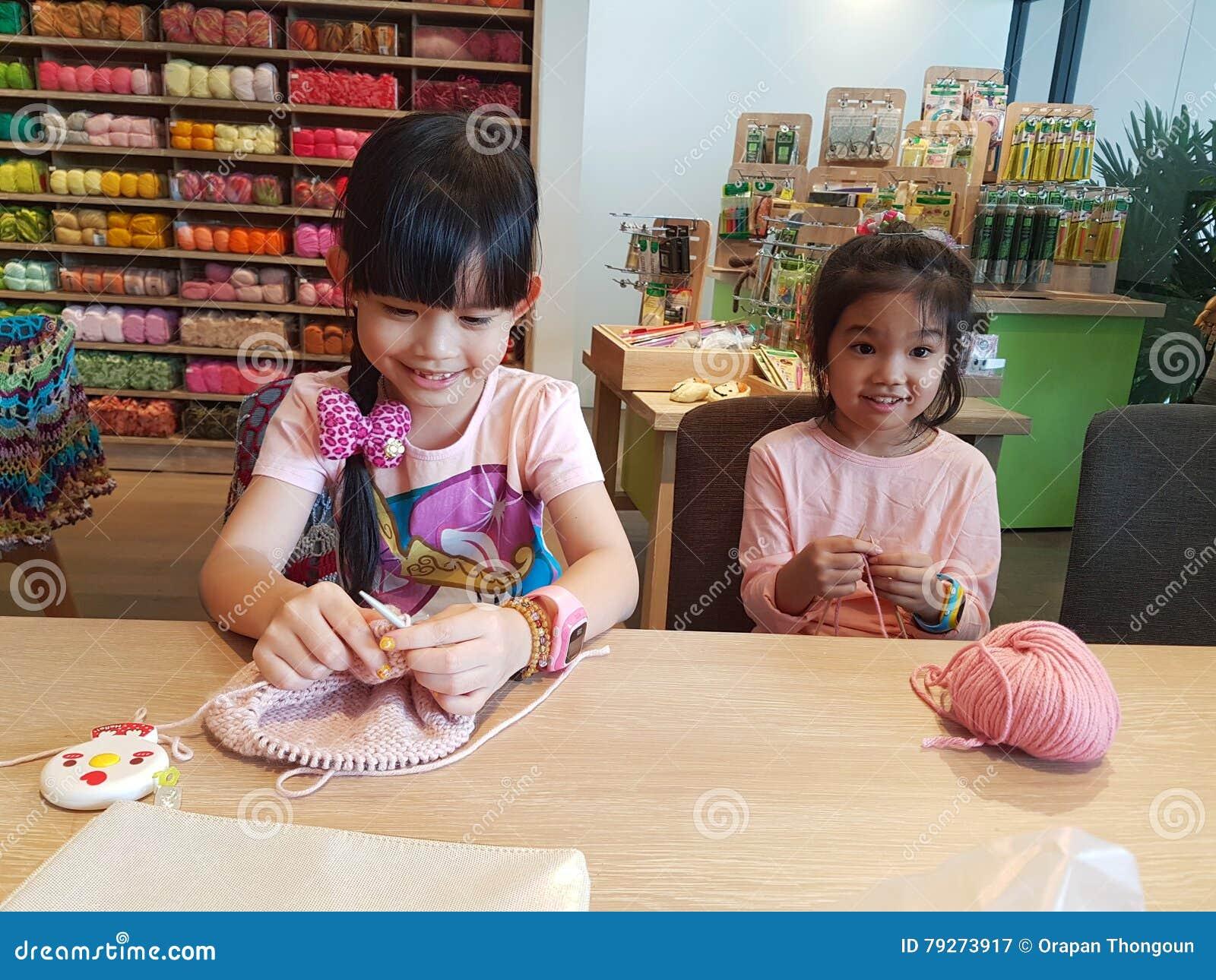 August 14,2016 Bangkok In Thailand  Thai Girls Knitting