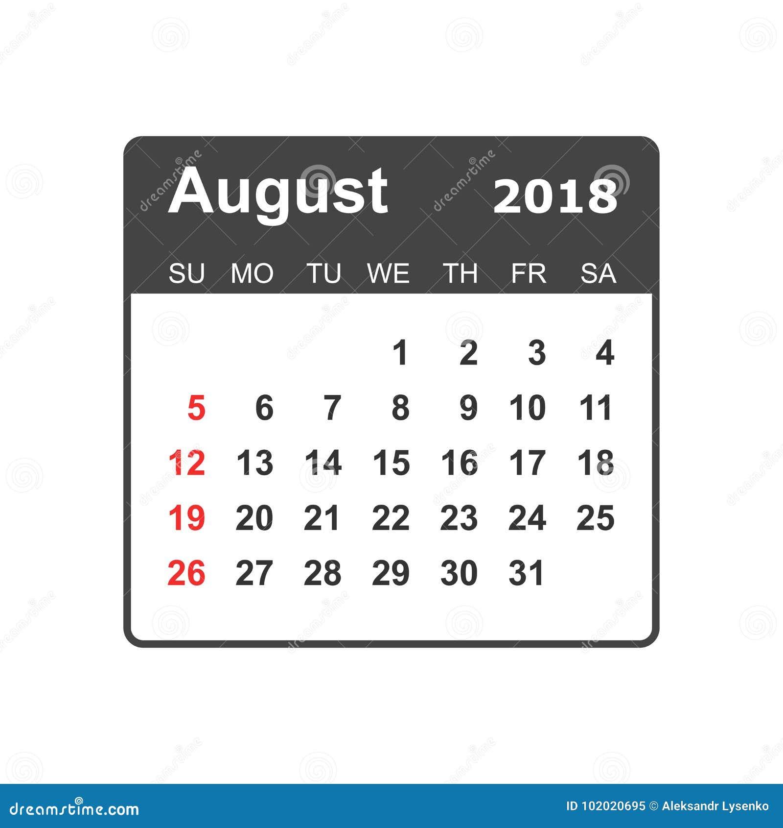 august 2018 calendar calendar planner design template week sta