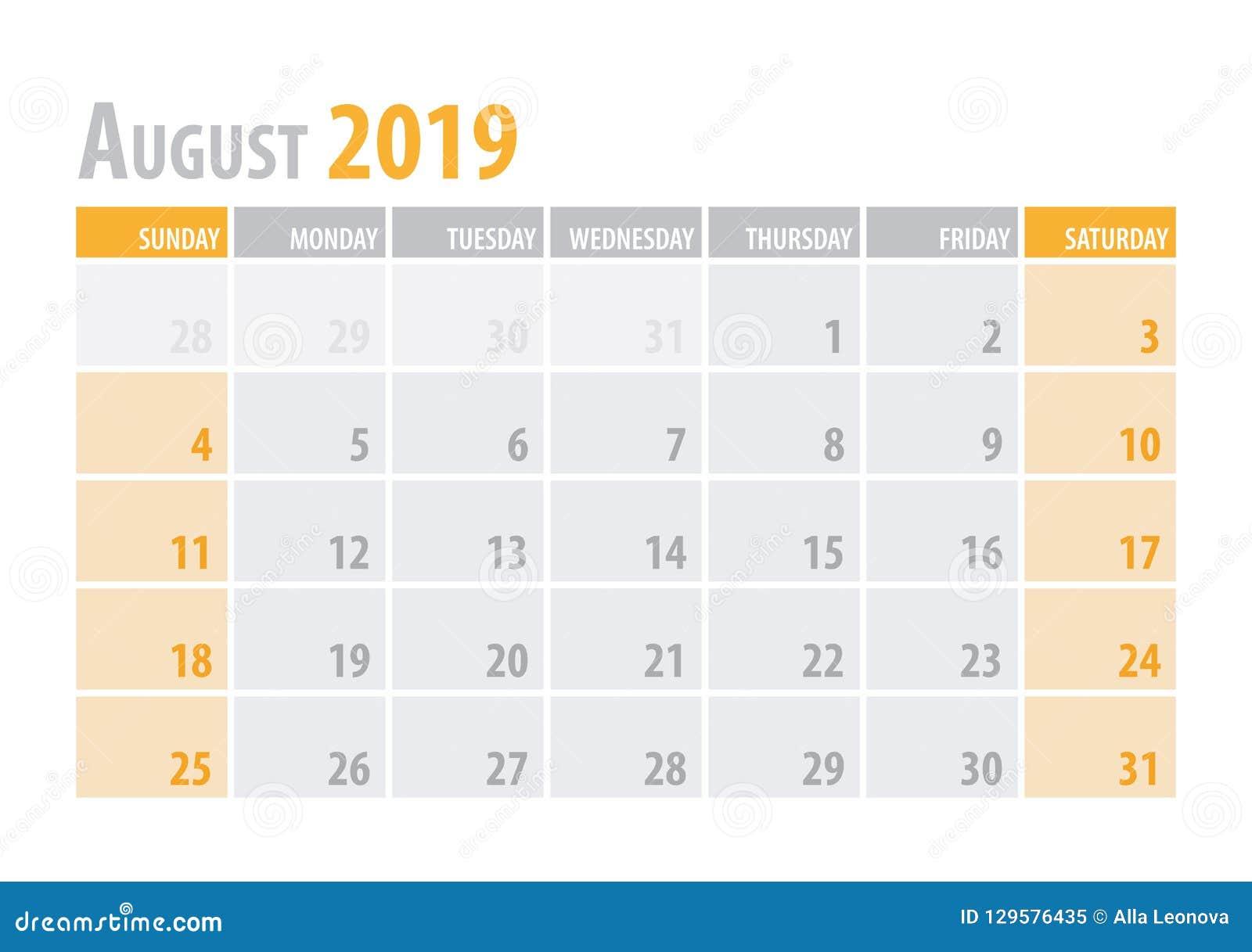 August Calendar Planner 2019 en estilo simple de la tabla mínima limpia Ilustración del vector