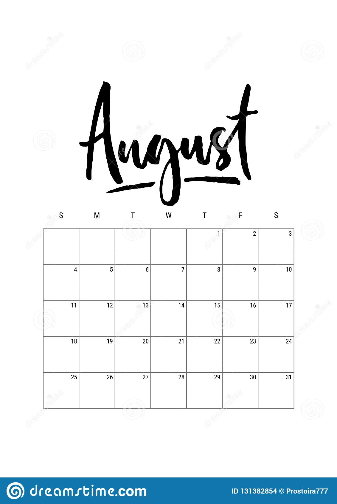 august  calendar planner 2019  week starts on sunday  part