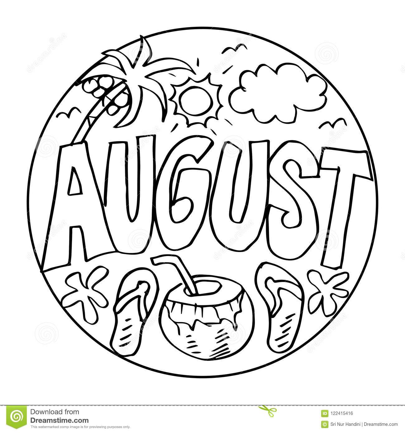 August coloring pages for kids stock illustration illustration of