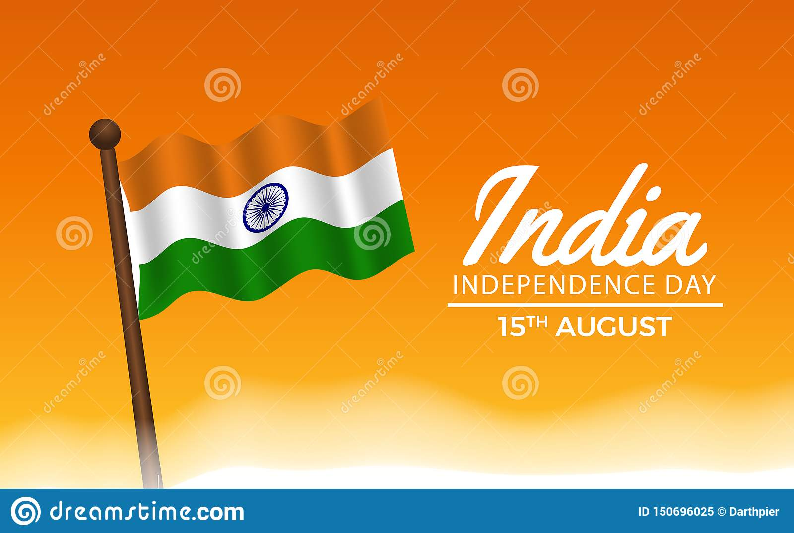 15 August India Hindi Independence Day Flag Wave With Orange