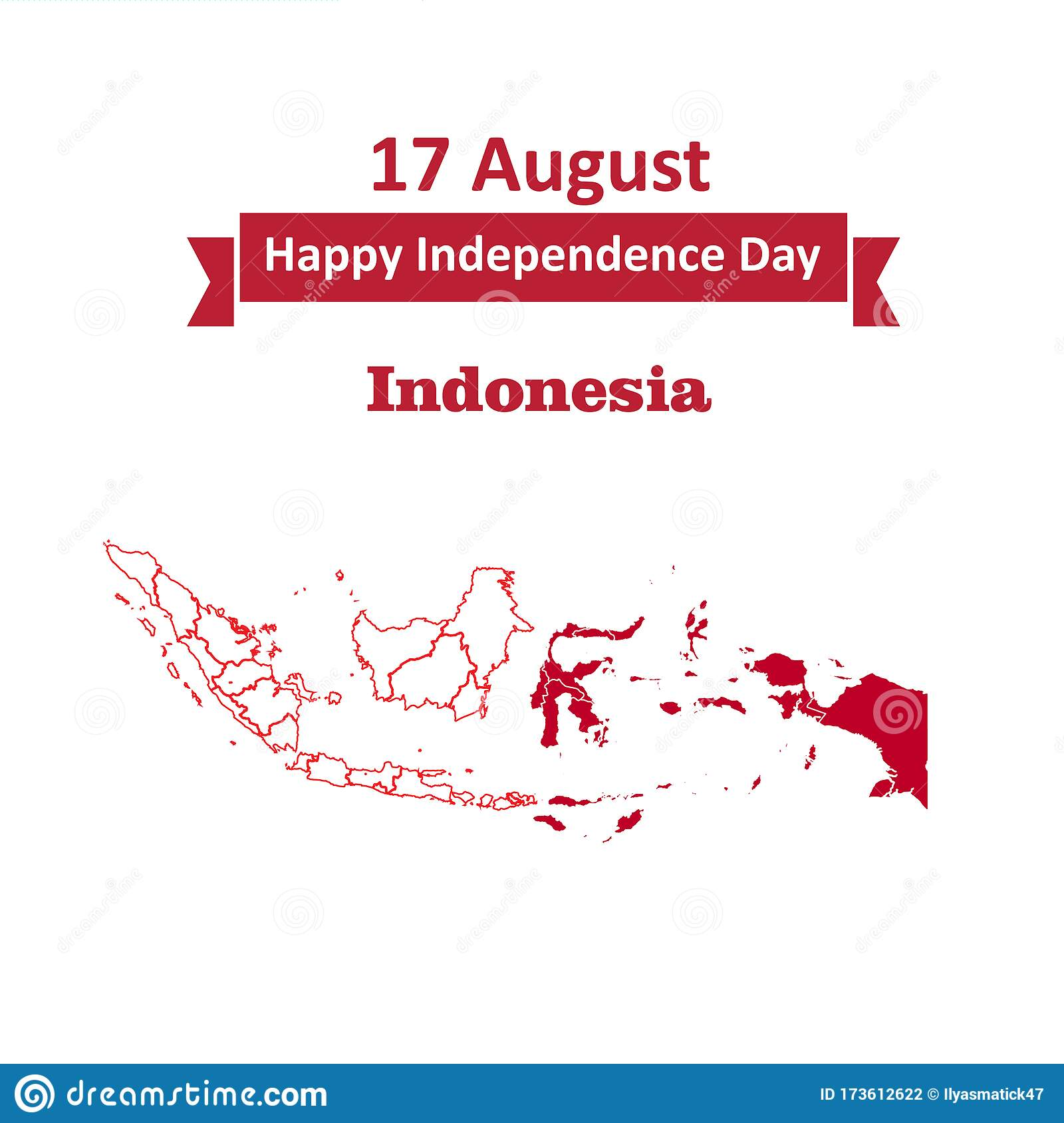 17 august indonesia happy independence day greeting card