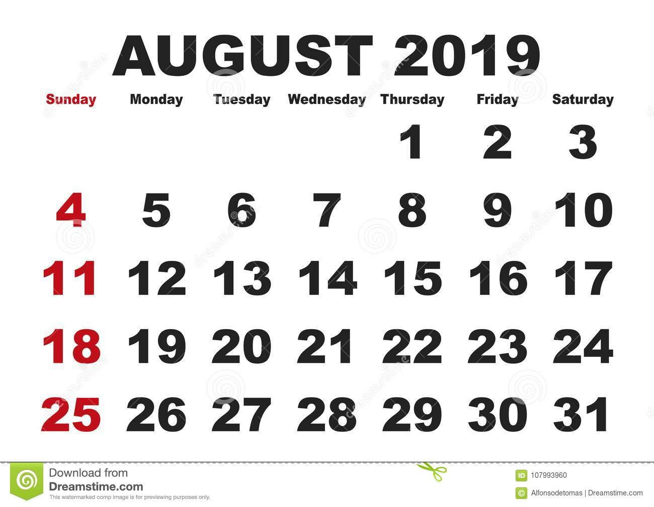 graphic regarding Printable Monthly Calendar August called August Thirty day period Calendar 2019 English United states of america Inventory Vector