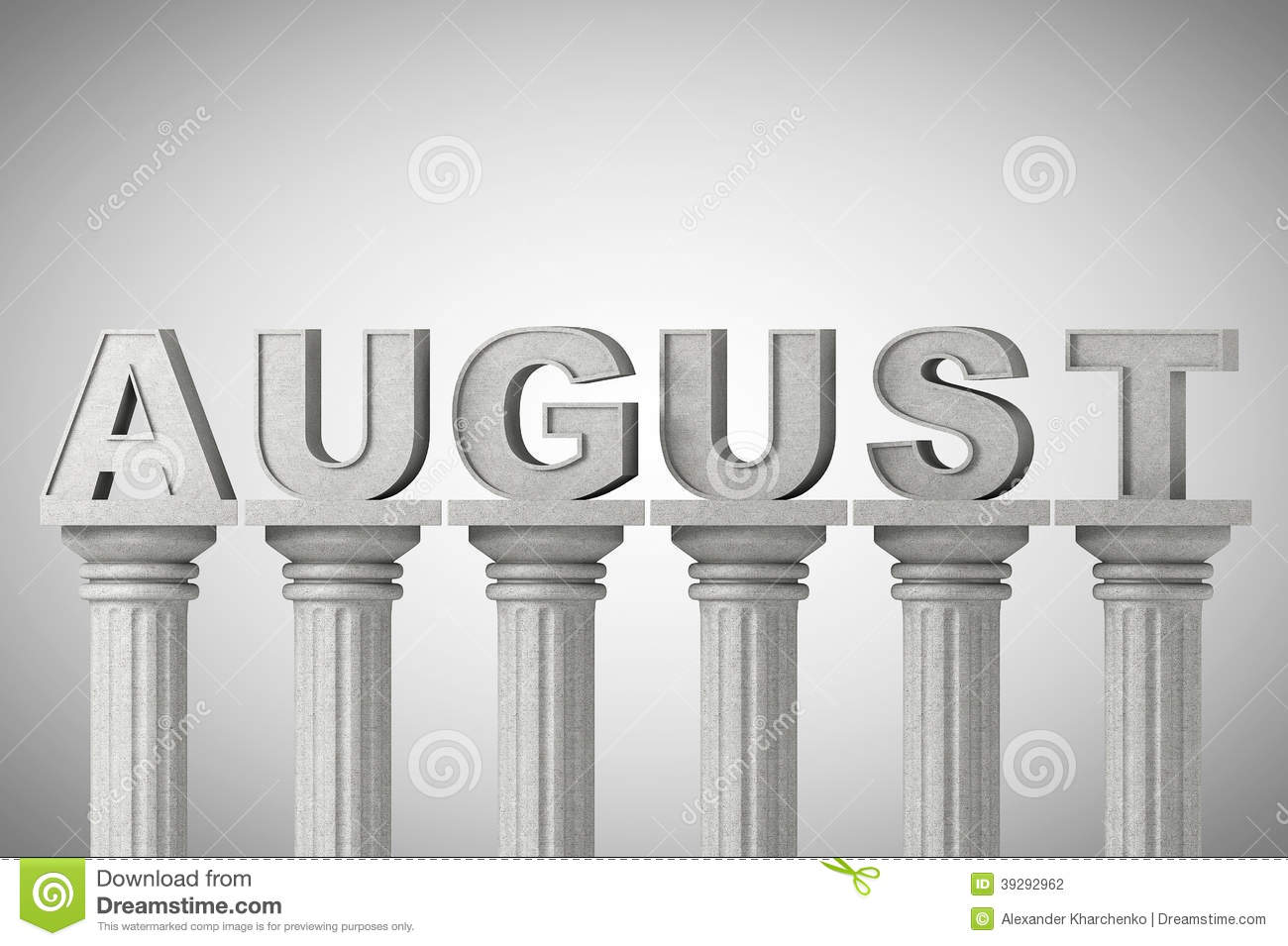 Calendar Illustration Free : August month sign on a classic columns stock illustration